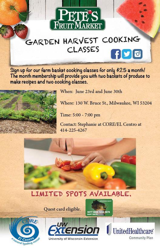 garden harvest cooking classes